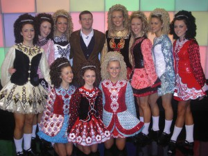 "McGL dancers with Dermot O'Leary on TV's ""Big Brother's Little Brother"""